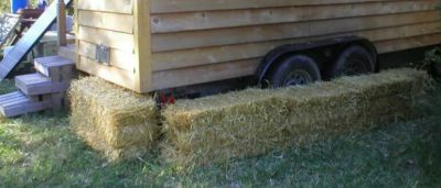 Hay bale skirting for a tiny home