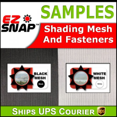 Samples of EZ Snap shades and fasteners. Block up to 90% of the suns heat from your house windows, skylights, RV windows or boat windows. Block the Heat, Not the View