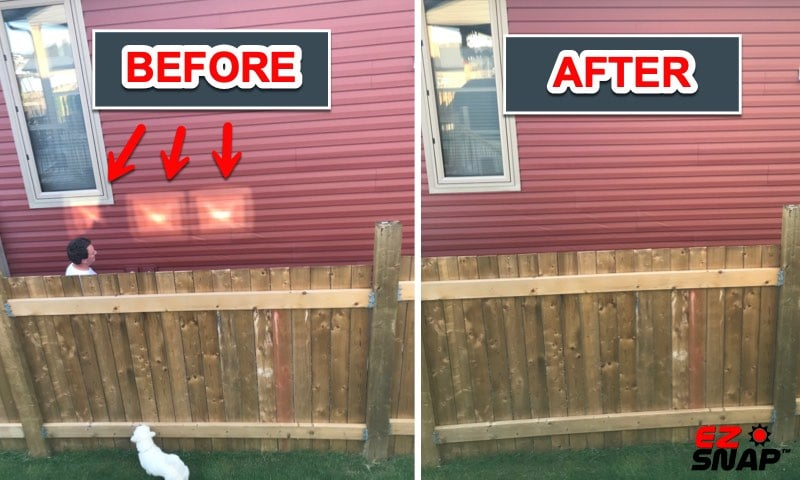 Stop Melted Siding with Window Shades Review Photos from Brad W Before and After EZ Snap